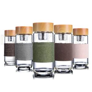 350ml 12oz garrafas de água de vidro resistente ao calor copo de chá de escritório redondo com chá de aço inoxidável infuser filtro de chá caneca de chá tumblers RRA3569