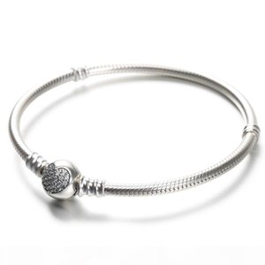 100% 925 Sterling Silver Womens Bracelets White CZ Micro Paved Heart Bracelet with box for Designer beads European Charms
