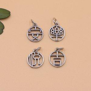 SZWV6 S925 gümüş mutlu kolye güvenli Güvenli kasa mutlu uğurlu küçük kolye DIY bilezik aksesuarları