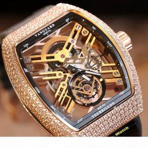 Top version NEW SARATOGE V 45 T SQT Skeleton Dial Japon Miyota automatique Mens Watch or rose diamant étui en cuir Bracelet Montres Designer