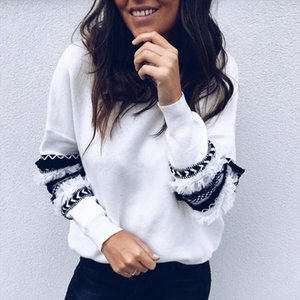 2020 New Fashion Women Hoodies O Neck Long Sleeve Sweatshirts Stringy Selvedge Patchwork Pullover Women Tops Femme Casual Hoody
