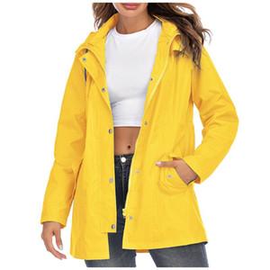 Открытые куртки Женщины с капюшоном Водонепроницаемый молния Средней длины Ветрозащитный плащ Куртка Feamle Hiking Camping Теплое пальто F