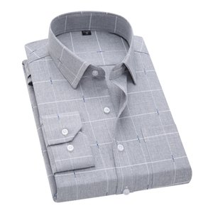 DAVYDAISY New Arrival Men Shirt Long Sleeved Male Plaid Printl Business Dress Shirts Brand Clothing Work Shirt Man DS262 200925