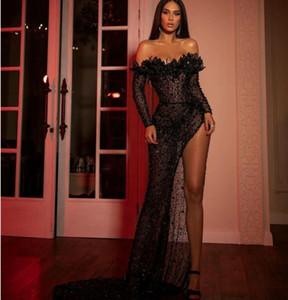 New spring 2020 Evening dress Yousef aljasmi A-Line Black Lace Crystal Long dress Off shoulder