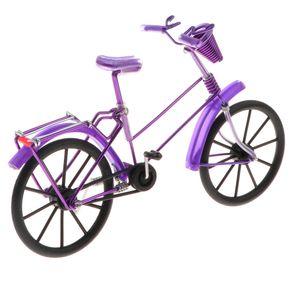 1:10 Aluminum Bike Model Bicycle With Basket Handicraft Toy Purple