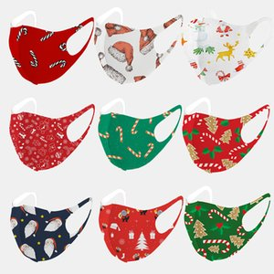 Christmas adult children printing mask 3D knitted reusable creative mask summer ice silk cotton washable masks independent packaging