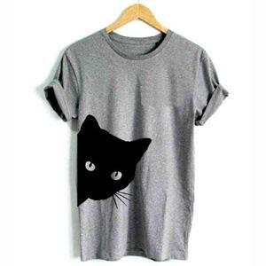 Harajuku Black T Shirt Women Tops Punk Cartoon Cat Face Letter Print Tee Shirt Femme T-shirt Casual Tee O-neck Rock Tops
