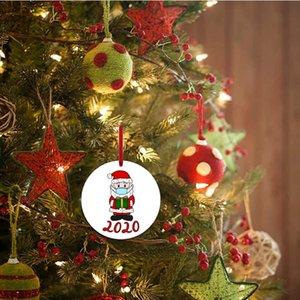 6cm Yuvarlak Noel Süsleme Elk Noel Baba Aile My First Noel ağacı kolye Parti Dekorasyon T500271