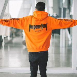 """Hip Hop Male Sweatshirt """"staff"""" Print Hoodie Long Sleeve Black Men Orange Street Sweatshirts Oversized Man Hooded Staff 200923"""