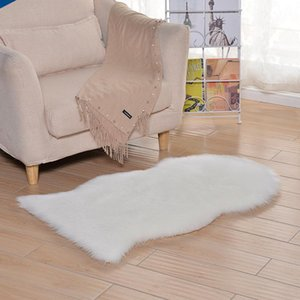 Custom-made European-style minimalist winter imitation wool plush thick white home living room bay window mat carpet floor mats