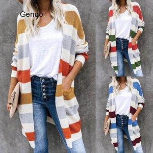 Mulheres Casual longas Cardigans camisola de malha Womens Outono para 2020 Striped Feminino Long Sleeve colorido Knit Cardigan