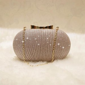 ICON Golden Evening Clutch Bag Women Bags Wedding Shiny Handbags Bridal Metal Bow Clutches Bag Shoulder Bag