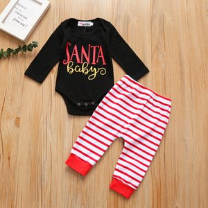 Winter Children Clothes Newborn Infant Baby Boys Girls Long Sleeve Cotton Christmas Letter Striped Romper+Pants Outfits Set