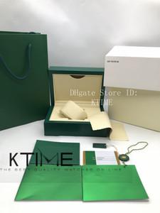 Más nuevo de calidad superior mejor bolso verde oscuro Baja de reloj de la caja de la caja de madera Tarjeta de folletos Etiquetas y papeles Limpiar relojes Paño Funda de embalaje