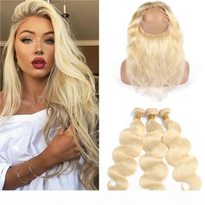 Blonde Body Wave Human Hair 360 Lace Frontal with Bundles #613 Russian Blonde Virgin Hair Weaves with 360 Closure 22.5x4x2 Pre Plucked