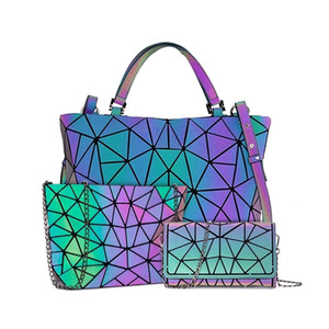 Women's Diamond Geometric Deformation Tote Irregular Folding Shoulder Holographic Laser Luminous bao bagX0923