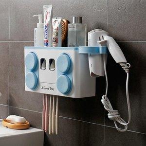 Diş Fırçası Diş Macunu Dağıtıcısı Holder ile Banyo Diş Kolay Depolama Aile Fincan Seti T200102 Fırçası 4 Plastik yxlEk Raf yükleme