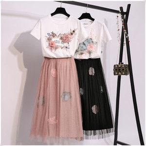 Amolapha Women Tee Skirts 2PCS Suits Short Sleeve 3D Flower Cotton Tee Tops+Elastic Waist Mid Calf Mesh Skirt Sets X0923