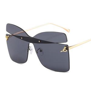 Óculos de sol 2021 Mulheres superdimensionadas de luxo Marca única design sem aro quadrado óculos de sol para homens feminino borboleta especial sunglasse
