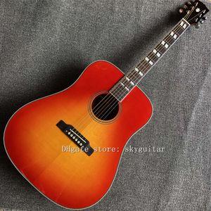 Özel akustik gitar, 41 inç D tipi katı ladin üst akustik gitar, klavye gül ağacı, yüksek kaliteli gitar