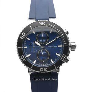 NEW Mens Sport Watch Montres-bracelets Montre Mouvement à quartz japonais visage bleu Chronographe Montres-bracelets Boîtier en acier de luxe montre
