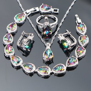 Magic Rainbow Cubic Zirconia Jewelry Sets 925 Sterling Silver Earrings For Women Wedding Bracelet Rings Necklace Set Gift Box C0927