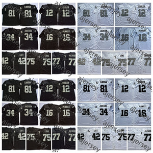 OaklandRaidersVintage 12 Ken Stabler 16 Jim Plunkett 34 Bo Jackson Ronnie Lott 75 Howie Long Lyle Alzado Tim Brown Jersey Football