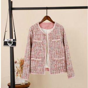Женские куртки 2021 весенний дизайн розовый цвет O-шеи с длинным рукавом Tweed шерстяная короткая куртка Casacos плюс размер s m l