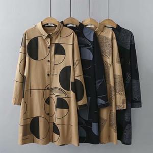 Manica lunga Supermiss Donna Shirt Plus Size Stampato casual Button tunica stampata verso il basso camicetta allentata Tops Femme 200924