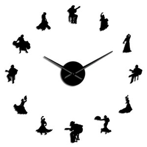 Big Dancers Time Unique Silhouette Wall Clock Studio Flamenco Wall Dance Dancer Decor Spanish Art Watch Effect Large Mirror Wall PstpK