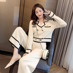 2020 otoño tendencia de la moda de alta cintura de las mujeres en toda la pierna pantalones de traje de alta calidad de la moda de las mujeres de punto de dos piezas traje de tamaño XS-XL