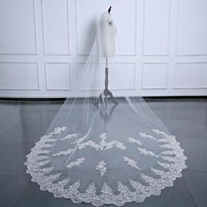 Longo Bridal Veil Lace Borda 3 .5m Capela Marfim Branco Berta Veils Veu De Casamento Véu do casamento
