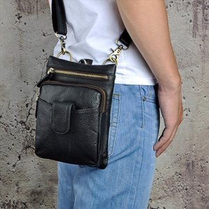 Original Leather men Casual Fashion Mochila Crossbody Messenger Bag Designer Male Waist Belt Pack Phone Tablet Case Pouch 6549 b
