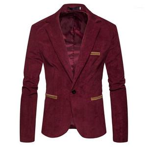 Primavera Masculino Vestuário V Neck Suits Jacket Botão Mens Corduroy Blazer Moda Individual sólido Mens Cor manga comprida