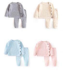 Ins Neue Qualität Kinder Jungen Mädchen Pullover Anzüge Front Buttons Fashions Designer Pullover mit Hosen 2pieces Unisex Kinder Kleidung Anzüge