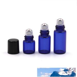 1 2 3ML Mini Glass Roll on Perfume Bottle Refillable Stainless Steel Roller Ball Essential Oil Liquid Bottle With Black Cap Mini sample viaL
