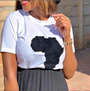 Modo caldo di vendita signore magliette Mappa stampa Womens T-shirt casuale colore solido O-Collo Donna Top Estate