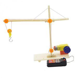 DIY Электрический кран Vehicle Physics машина цепи Шкив Lever Puzzle Модель экпериментов Обучающие игрушки Физическая Студент