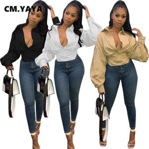 Kadınlar Sonbahar Fener Kol Bluz Vintage Moda Düğme Yukarı Yüksek Bel Aşağı Boyun Gömlek Tops çevirin