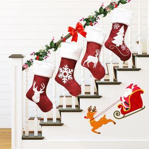 Regalos de Navidad que almacena las decoraciones de Navidad Bolsa de regalo kenaf Elk bordado de Navidad árbol de Navidad colgantes 4 Estilo XD23944