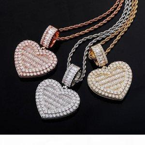 Europe and America Custom Photo Hip Hop Heart Frame Pendant Necklace Diamond Sides Pendants Necklace