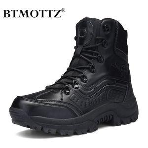 Zapatos de combate táctico botas de cuero genuino de los hombres del Ejército de EE.UU. caza senderismo del alpinismo que acampa del desierto del invierno BTMOTTZ