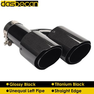 Dasbecan Car Dual H Model Muffler Unequal Left Exhaust Tips Glossy Black Carbon Fiber Pipe Straight End Tip Universal