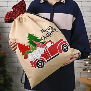 Sacs-cadeaux à carreaux de Noël Forêt Homme Vieil homme Cadeau imprimé Candy Sacs Apple Sacs Joyeux Noël Sac Party Fournitures 70 * 45cm GWE1663