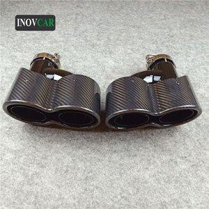 1 пар Нового H Стиль сиамские Полный Glossy Black Carbon Fiber и нержавеющая сталь для автомобилей глушителя Трубы для Юниверсала