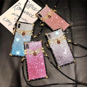 Gradient Premium Rhinestone Bee Glitter Csae Luxury Deisnger Anti-fall Women Phone Case For iPhone 11 PRO XS MAX XR X 7 8 Plus