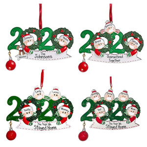 DIY Quarantine Christmas Birthdays Party Decoration Gift Product Personalized Family Of 4 Ornament Pandemic Social Distancing DHL FY4278