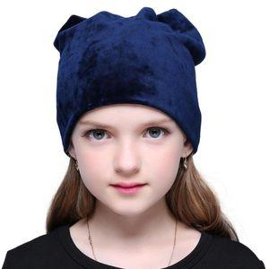 Autumn Winter Warm Skullies Beanies Polyester Knitted Hats Casual Velvet Skullies Cap For Children Girls Plain Color Beanie Hat