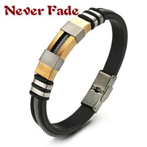 Bracelet en acier inoxydable Hommes Bracelet en silicone noir rainuré Rudder Mesh Lien Insérer Punk Wristband style Bangle Casual