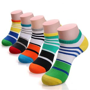 Hot sale!socks men cotton 5pairs lot spring summer and autumn colorful stripe boat socks men's slippers shallow mouth socks